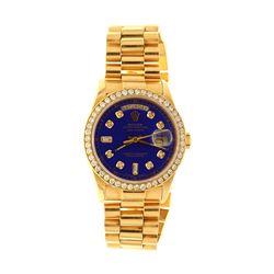 ROLEX: [1] 18ky Rolex Oyster Perpetual DayDate President watch; 36mm case, blue face w/ diamond mark