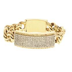 BRACELET: [1] 10ky tested bracelet, 9 inches long; (177) rb diamonds, 1.7mm-2.0mm =est. 5.15cttw, Go