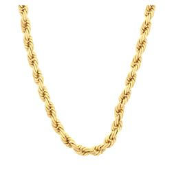CHAIN: [1] 10ky tested rope chain, 30 inches long, 8.54mm wide; 217.5 grams.