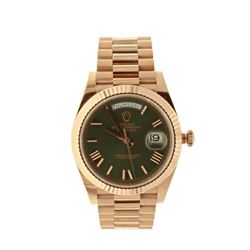 ROLEX: [1] 18kr Rolex Oyster Perpetual DayDate President watch, 40mm case, fluted bezel, olive green