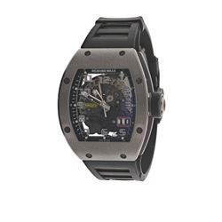 WATCH: [1] Titanium Richard Mille 'Big Date' 50M watch, 48mm x 39mm case; skeleton back, sapphire cr