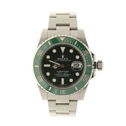 ROLEX: [1] St.steel Rolex Submariner, 40mm case, green rotating bezel, green dial with luminous mark