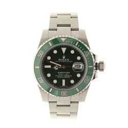 ROLEX: [1] St.steel Rolex Submariner, 40mm case, green rotating bezel, green dial with luminous mark