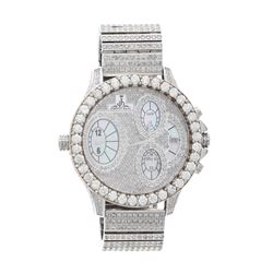 WATCH:  [1] Stainless steel Johnny Dang Evolution watch set with diamonds in dial, case, lugs, case