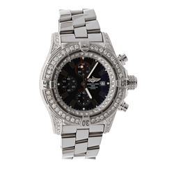 WATCH:  [1] Stainless steel gents Breitling Super Avenger Automatic watch with an aftermarket black