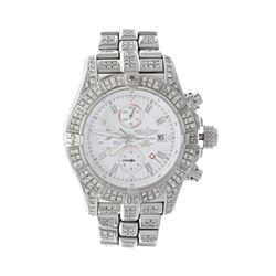 WATCH:  [1] Stainless steel gents Breitling Super Avenger Automatic watch with a white dial;  and th