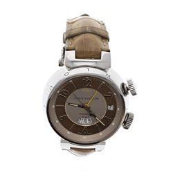 WATCH: [1] Stainless steel Louis Vuitton Tambour GMT Reveil 100M watch, 41mm case, tan & brown dial,