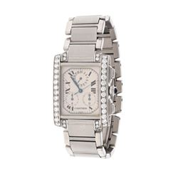 WATCH: [1] Men's st.steel Cartier Tank Francaise chronograph wristwatch w/ aftermarket diamond set c