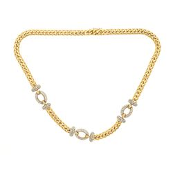 NECKLACE: [1] 18kyw tested necklace, 18.5 inches long; (168) rb diamonds, 1.4mm-1.5mm =est. 2.35cttw
