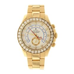ROLEX: [1] 18ky Rolex Yachtmaster II watch; 44mm case, white dial w/ sub dial, aftermarket diamond b