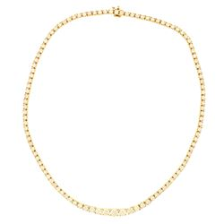NECKLACE: [1] 18kt yellow gold diamond riviera style necklace with (109) estimated 10.60 carat total
