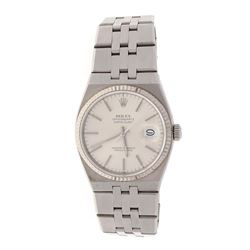 WATCH: [1] Stainless steel Rolex DateJust Oyster Quartz wristwatch; Silver dial with stick hour mark