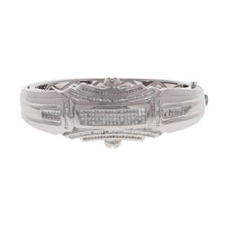 BRACELET; [1] 14k white gold large bracelet with (228) diamonds, 1mm-1.7mm = an estimated 3.75 carat