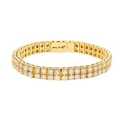 BRACELET: [1] 10k yellow gold bracelet 8 inches long with (88) round brilliant cut diamonds 4.1mm =