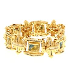 BRACELET: [1] 14k yellow gold bracelet 8.50 inches long with round brilliant and baguette cut diamon