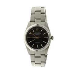 ROLEX: [1] Stainless steel Rolex Airking; 34mm case, black dial, Oyster bracelet, polished bezel, Mo