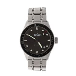 WATCH: [1] Stainless steel Blancpain Fifty Fathoms Bathyscaphe 300M watch; 43mm case, black dial, da