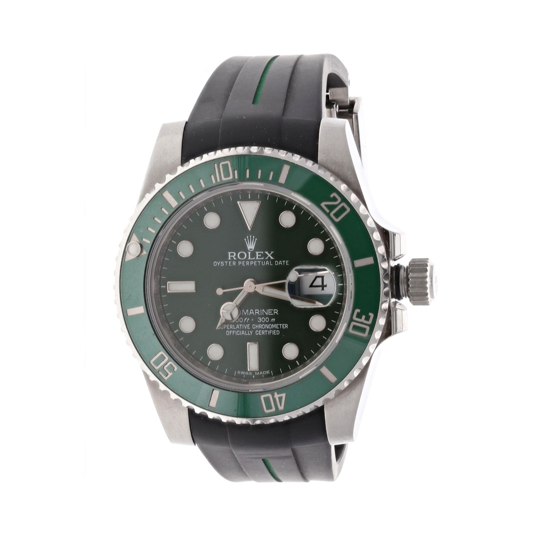 ROLEX [1] Stainless steel Rolex Submariner Date watch; 40mm case, green  dial, green uni,directional