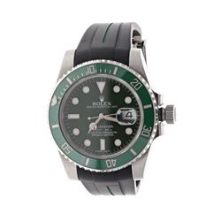 ROLEX: [1] Stainless steel Rolex Submariner Date watch; 40mm case, green dial, green uni-directional