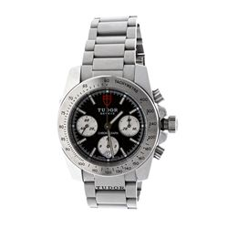 WATCH: [1] Stainless steel Tudor Sport Chronograph watch; 41mm case, black dial with 3 sub dials, da