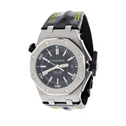 WATCH: [1] Stainless steel Audemars Piguet Royal Oak Offshore Diver 300M watch; 42mm case, black dia