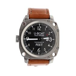 WATCH: [1] Stainless steel U-Boat Italo Fontana Thousands of Feet 100M watch; 50mm case, black dial