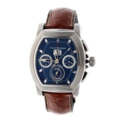 WATCH: [1] Stainless steel Carl F. Bucherer Patravi T-Graph Chronograph 50M watch; 39mm case, blue d