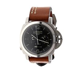 WATCH: [1] Stainless steel Panerai Luminor GMT 8 Days Chronograph 100M watch; 44mm case, black dial