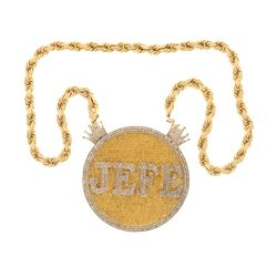PENDANT: [1] 10k yellow and white gold ''Jefe'' pendant; approx. (583) round brilliant cut diamonds,