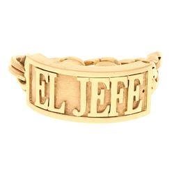 BRACELET: [1] 10k yellow gold ''El Jefe'' bracelet, 9 inches long, 33mm wide; 347.8 grams.