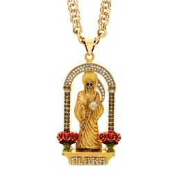 NECKLACE: [1] 10k yellow gold Santa Muerte necklace, 30 inches long; (92) round brilliant cut diamon