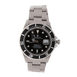 ROLEX: [1] Stainless steel Rolex GMT Master watch, replacement black Submariner dial, black unidirec
