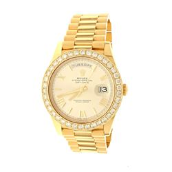 ROLEX: [1] 18k yellow gold Rolex Oyster Perpetual DayDate 40 President watch with aftermarket diamon
