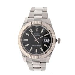 WATCH: [1] Stainless Steel Rolex Oyster Perpetual DateJust II wristwatch; 18kt white gold fluted bez