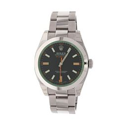 WATCH: [1] Stainless Steel Rolex Oyster Perpetual Milgauss; Smooth bezel; Black index dial with lume