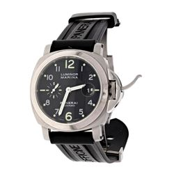 WATCH: [1] Stainless Steel Panerai Automatic Luminor wristwatch; Polished steel bezel; Black numbere