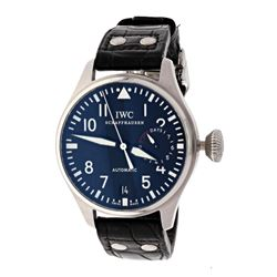 WATCH: [1] Stainless Steel IWC Big Pilot wristwatch; Black Arabic numbered dial with power reserve s