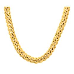 NECKLACE: [1] 14KYG Cuban link chain, 32 inch, 14.5mm width, 489.9 grams