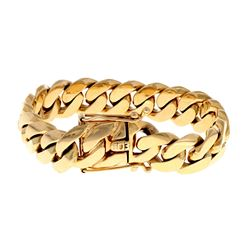 BRACELET: [1] 14KYG gold Cuban link bracelet, 17.5mm in width, 9 inch, 196.2 grams EARRING: [1] 1 ea