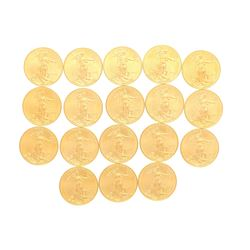 COINS: (18) Double Eagle 1oz United States gold coins, dated 2009.