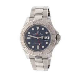 ROLEX: [1] Stainless steel Rolex Yacht-Master 40 watch, 40mm case, 100M, blue dial, bi-directional r