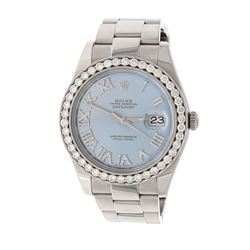 WATCH: [1] Stainless steel Rolex Oyster Perpetual DateJust II wristwatch; Blue dial with roman numer