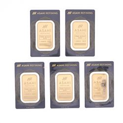 BULLION: [1] Ashahi Refining .9999 fine gold bar; 1 troy ounce; #A000496 BULLION: [1] Ashahi Refinin