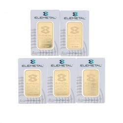 BULLION: [1]Elemetal .9999 fine gold bar; 1 troy ounce;  #16-33210 BULLION: [1]Elemetal .9999 fine g