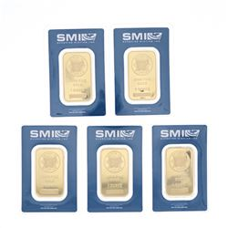 BULLION: [1] Sunshine Minting .9999 fine gold bar; 1 troy ounce; #A148147 BULLION: [1] Sunshine Mint