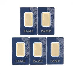 BULLION: [1] PAMP Suisse .9999 fine gold bar; 1 troy ounce; #C235851 BULLION: [1] PAMP Suisse .9999