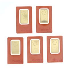 BULLION: [1] Valcambi Suisse .9999 fine gold bar; 1 troy ounce; #AA265950 BULLION: [1] Valcambi Suis