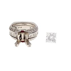 RING: Platinum ring, size 4; (1) princess cut diamond, 6.81mm x 6.80mm x 4.90mm = an estimated 1.88