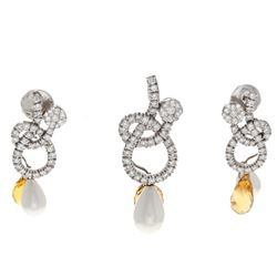 PENDANT: 18k white gold pendant with citrine and pearl drops; (36) round brilliant cut diamonds, 1.8