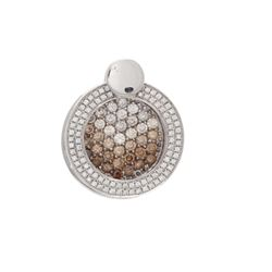 PENDANT: 14k white gold pendant; (128) round brilliant cut diamonds, 0.8mm-2.0mm = an estimated 1.35